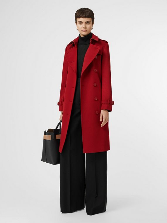 Cashmere Trench Coat in Red