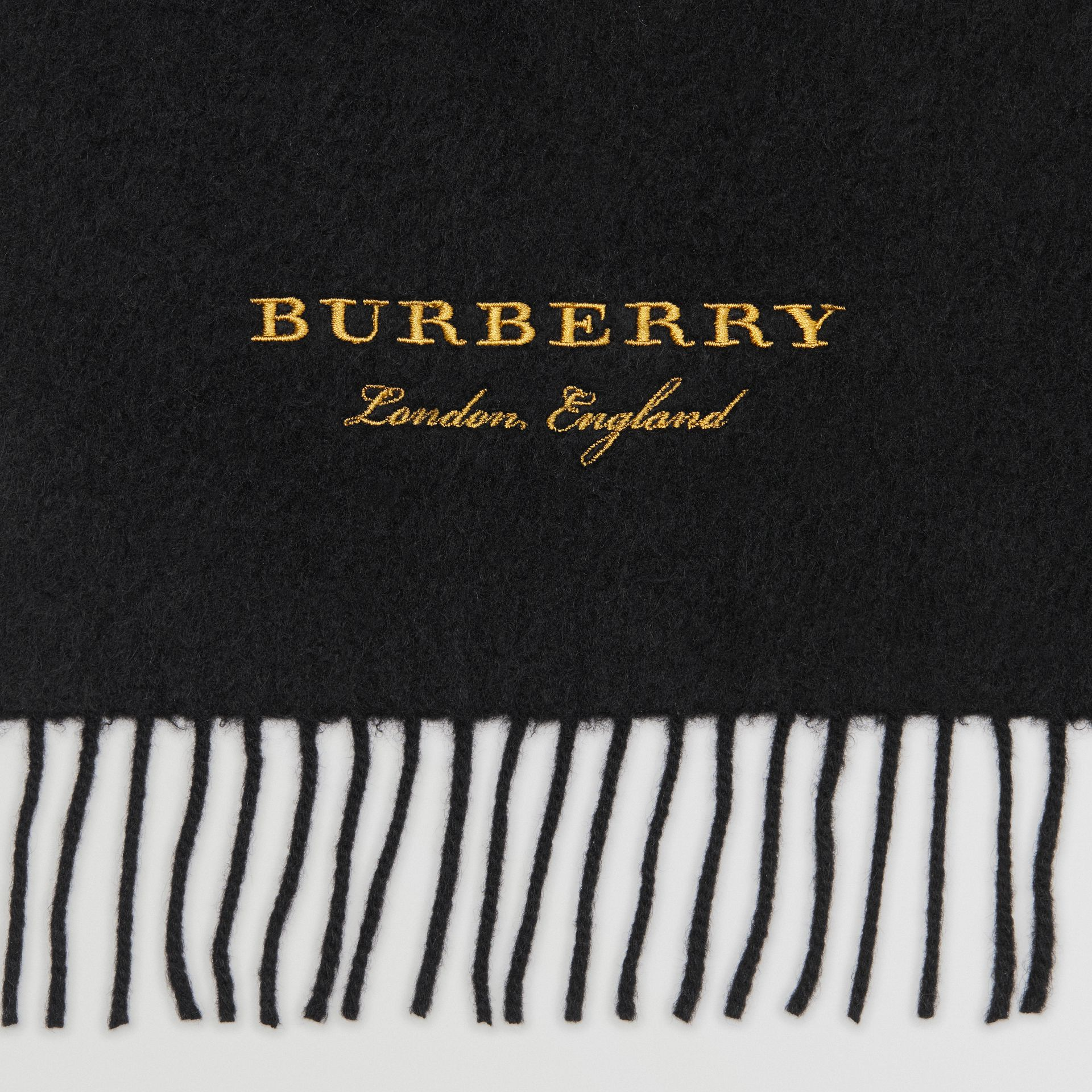 Embroidered Cashmere Fleece Scarf in Black | Burberry Australia - gallery image 1
