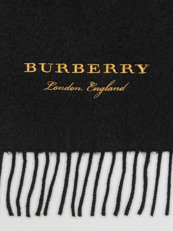 Embroidered Cashmere Fleece Scarf in Black | Burberry Australia - cell image 1