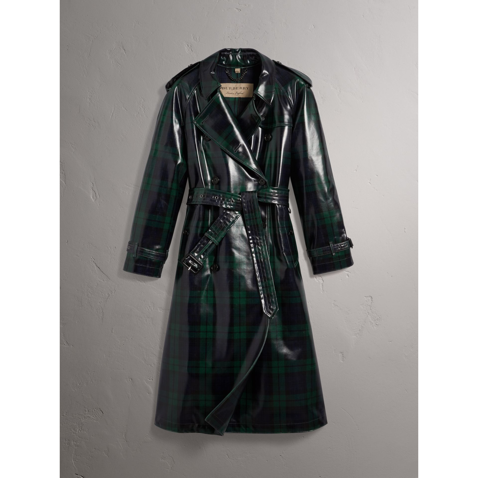 Laminated Tartan Wool Trench Coat in Navy - Women | Burberry - gallery image 4
