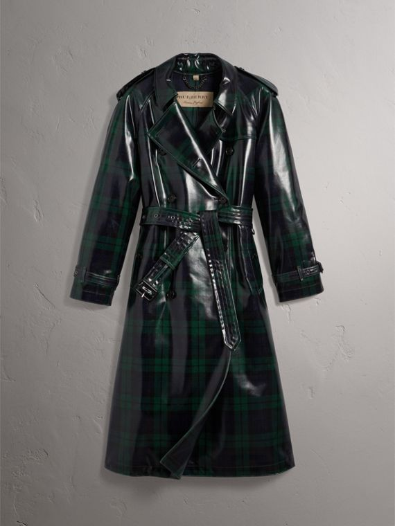 Laminated Tartan Wool Trench Coat in Navy - Women | Burberry United Kingdom - cell image 3