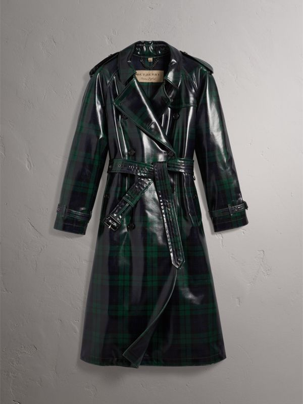Laminated Tartan Wool Trench Coat in Navy - Women | Burberry - cell image 3