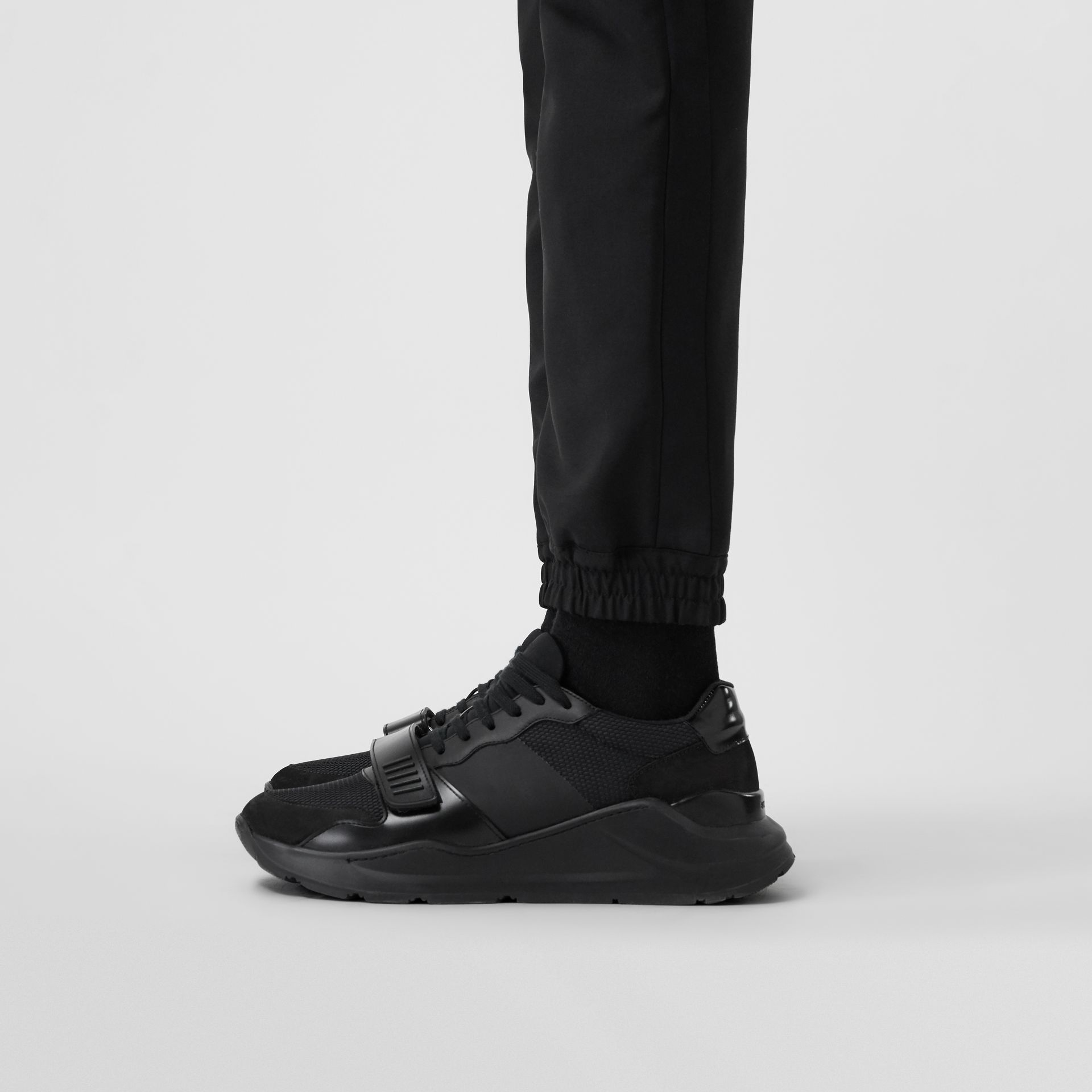Mesh Detail Suede and Neoprene Sneakers in Black - Men | Burberry - gallery image 2