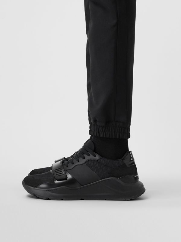 Mesh Detail Suede and Neoprene Sneakers in Black - Men | Burberry United Kingdom - cell image 2