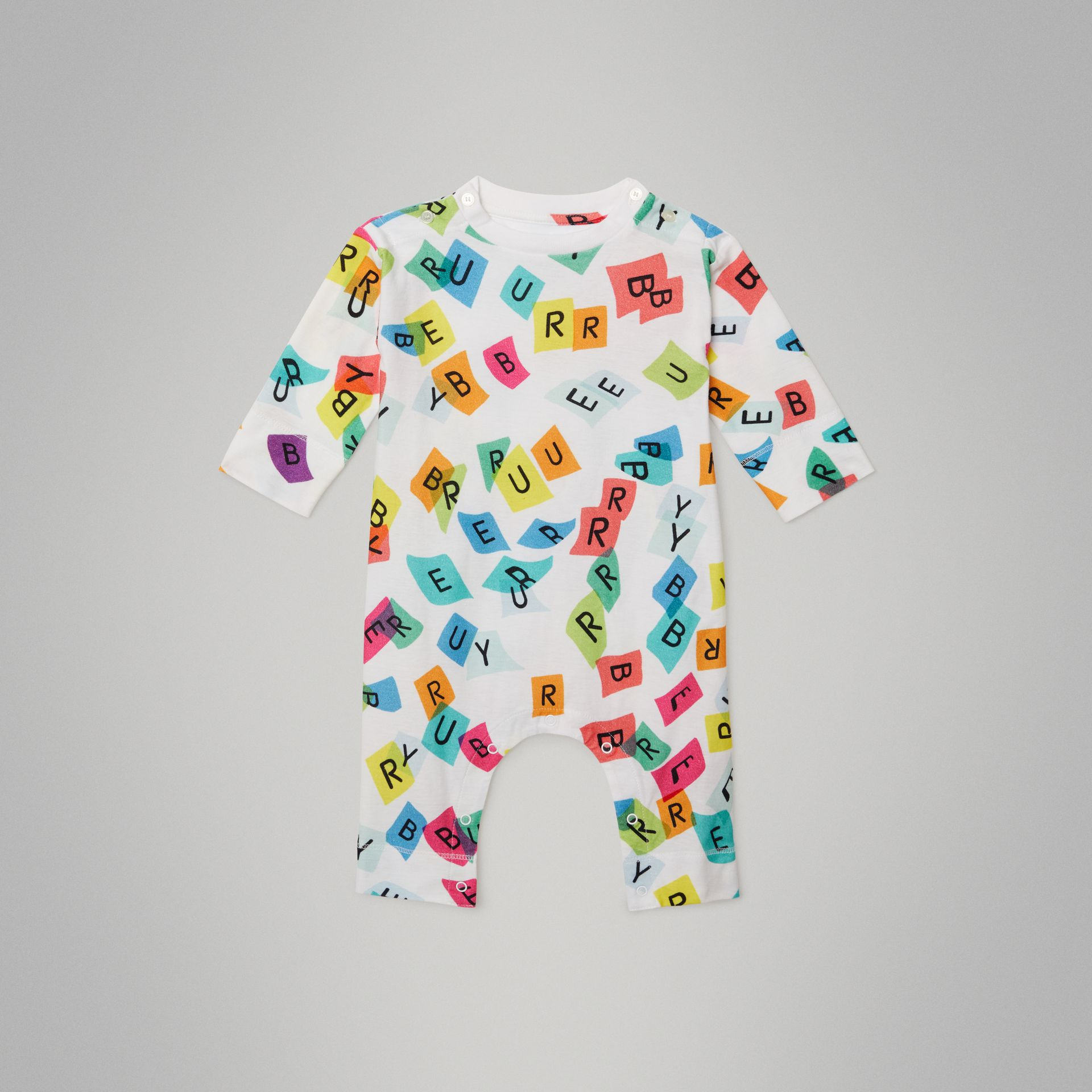 Confetti Letter Print Cotton Jumpsuit in White - Children | Burberry United Kingdom - gallery image 0