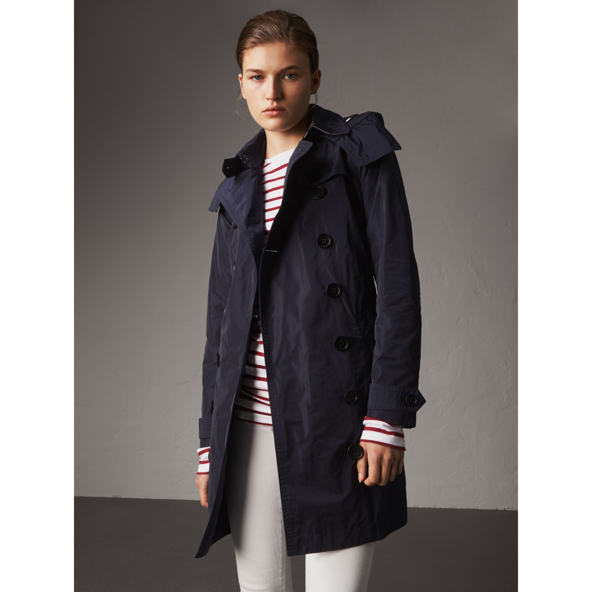 Taffeta Trench Coat with Detachable Hood in Navy - Women | Burberry United Kingdom - gallery image 1