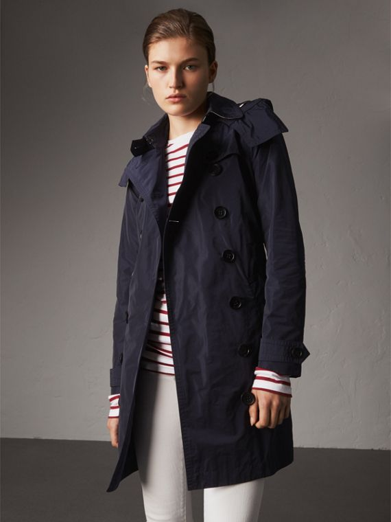 Taffeta Trench Coat with Detachable Hood in Navy