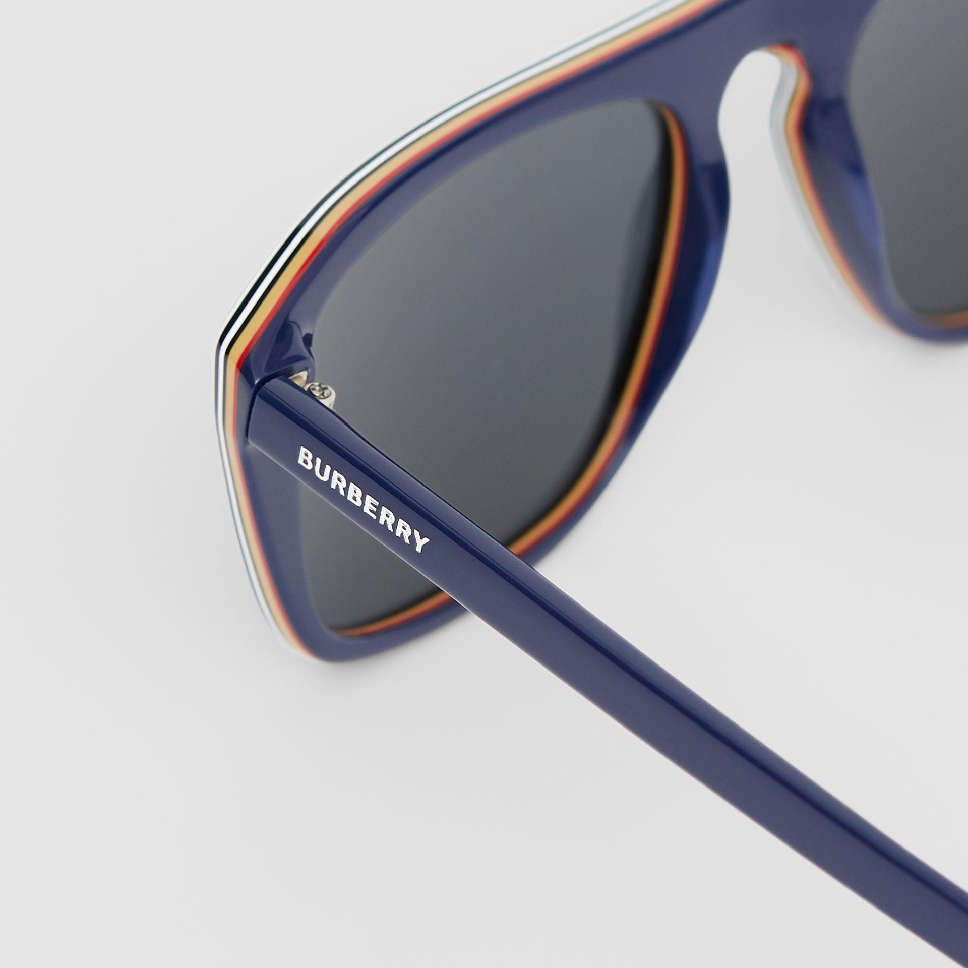 Icon Stripe Detail Square Frame Sunglasses in Blue - Men | Burberry Singapore - gallery image 1