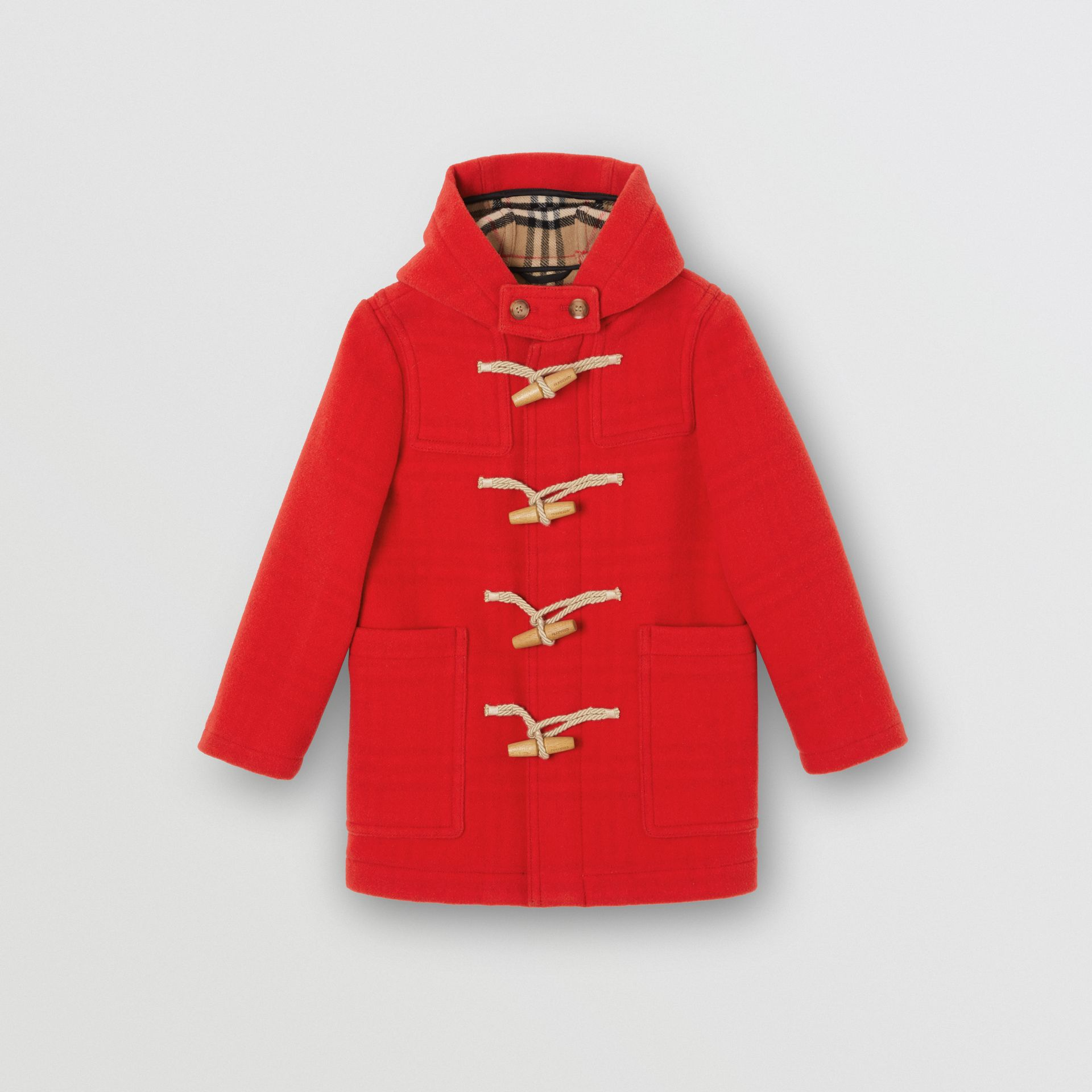 Double-faced Wool Duffle Coat in Bright Red | Burberry - gallery image 0