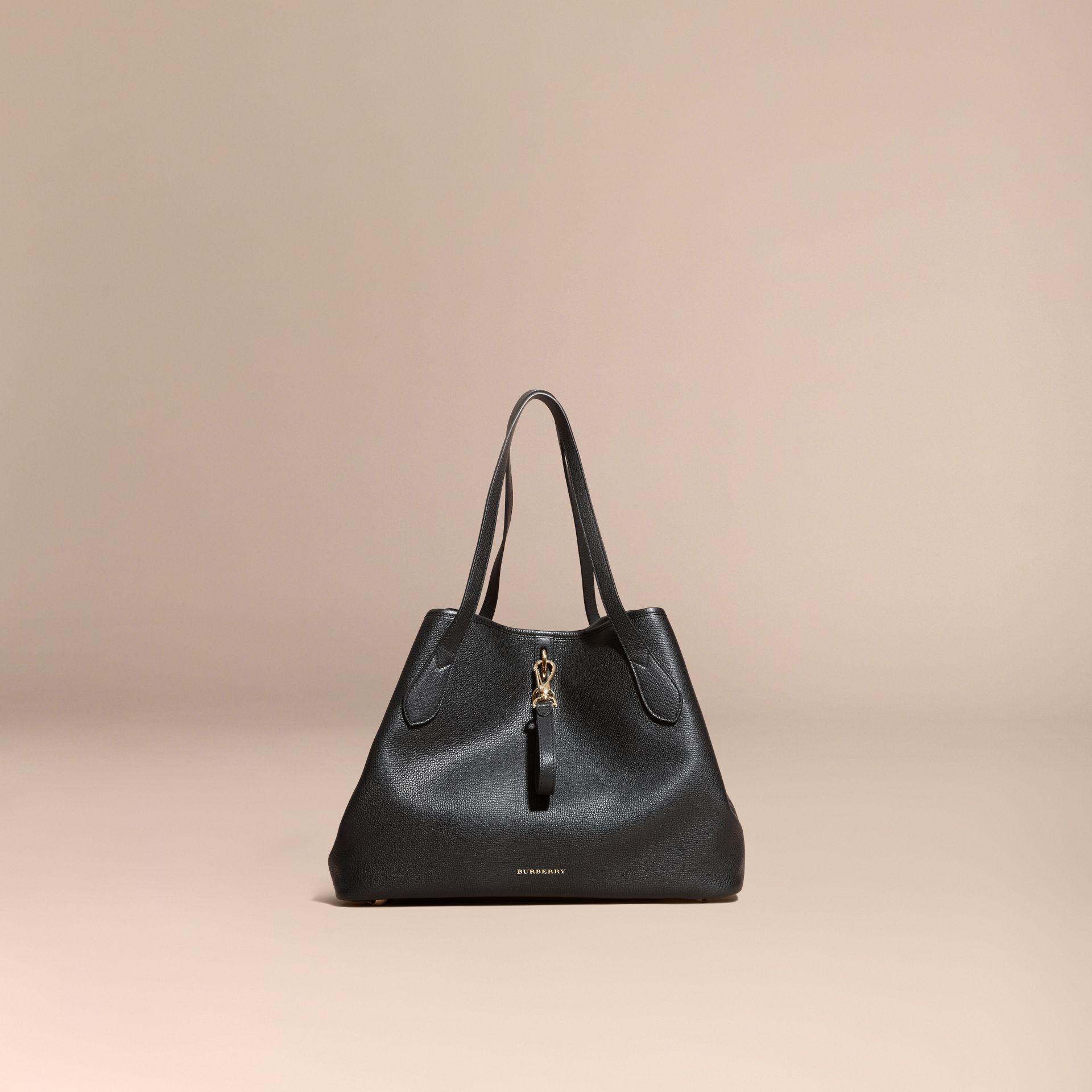 Black Medium Grainy Leather Tote Bag Black - gallery image 8
