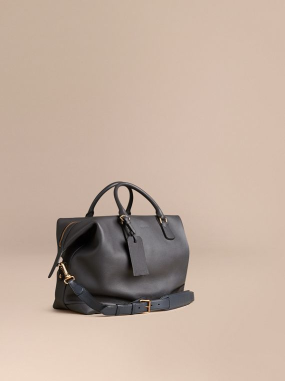Grainy Leather Holdall Charcoal