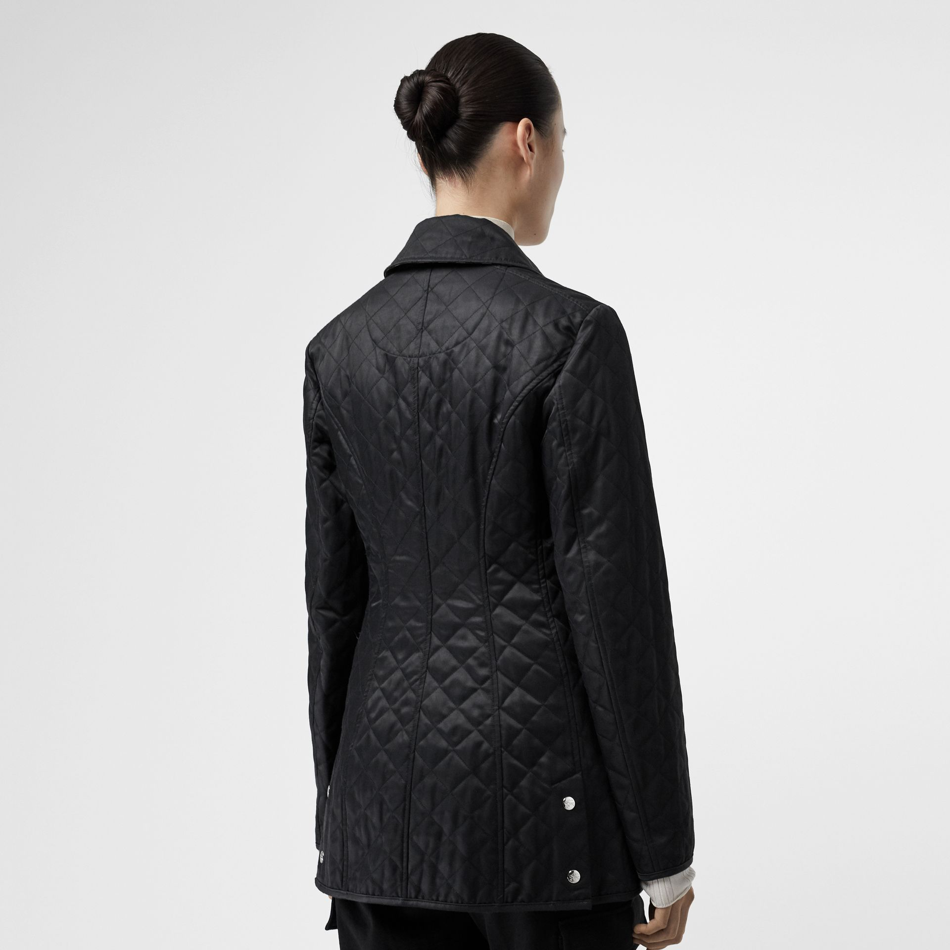 Logo Button Diamond Quilted Jacket in Black - Women | Burberry - gallery image 2