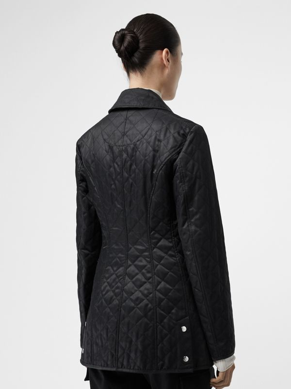 Logo Button Diamond Quilted Jacket in Black - Women | Burberry - cell image 2