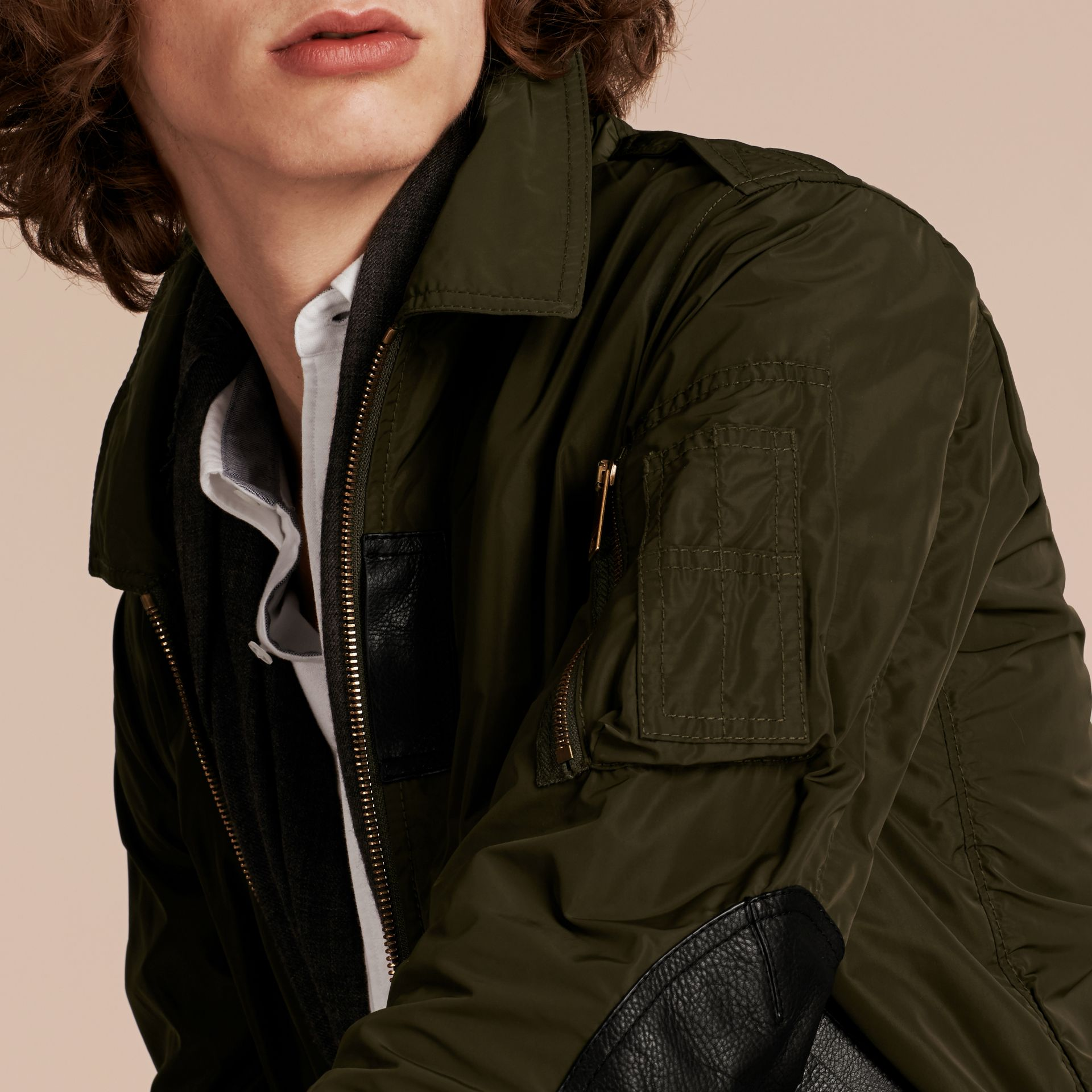 Khaki Lightweight Leather Trim Technical Jacket - gallery image 5