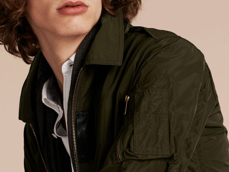 Khaki Lightweight Leather Trim Technical Jacket - cell image 4