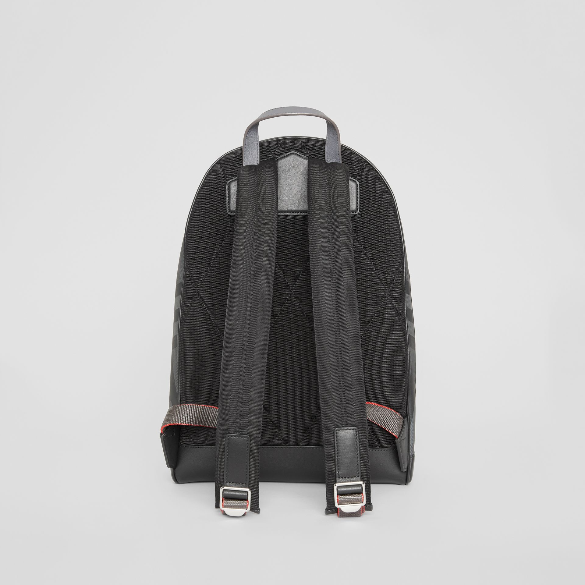 EKD London Check and Leather Backpack in Charcoal/black - Men | Burberry Singapore - gallery image 7