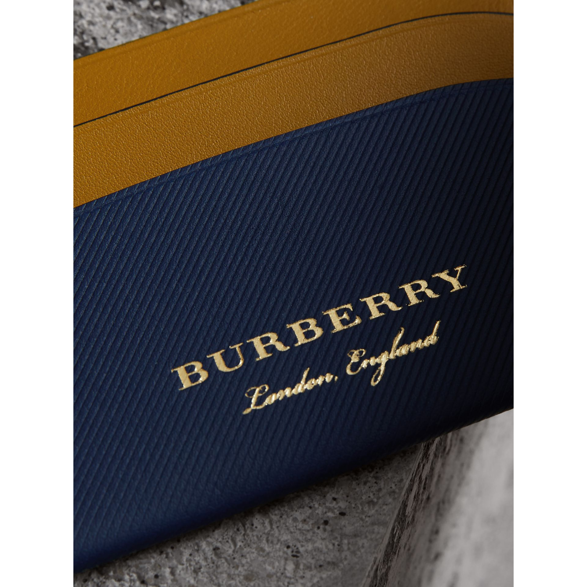 Two-tone Trench Leather Card Case in Ink Blue/ochre Yellow - Women | Burberry United States - gallery image 1