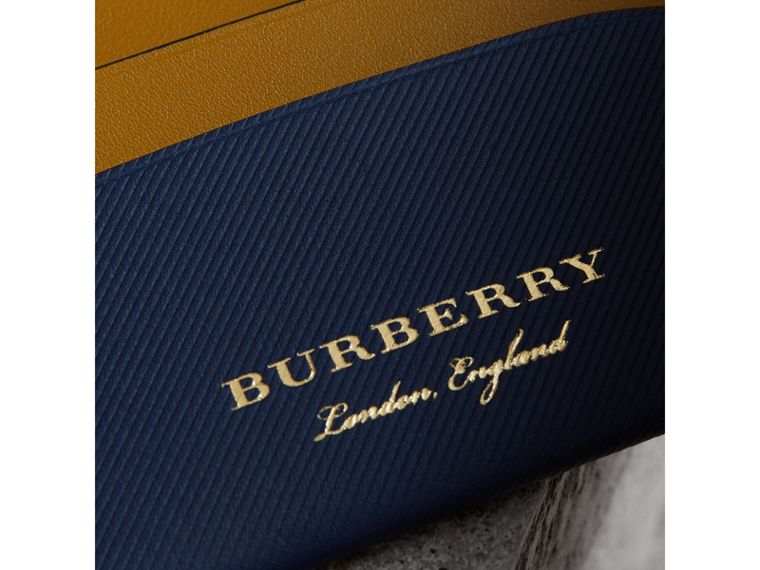 Two-tone Trench Leather Card Case in Ink Blue/ochre Yellow - Women | Burberry United States - cell image 1