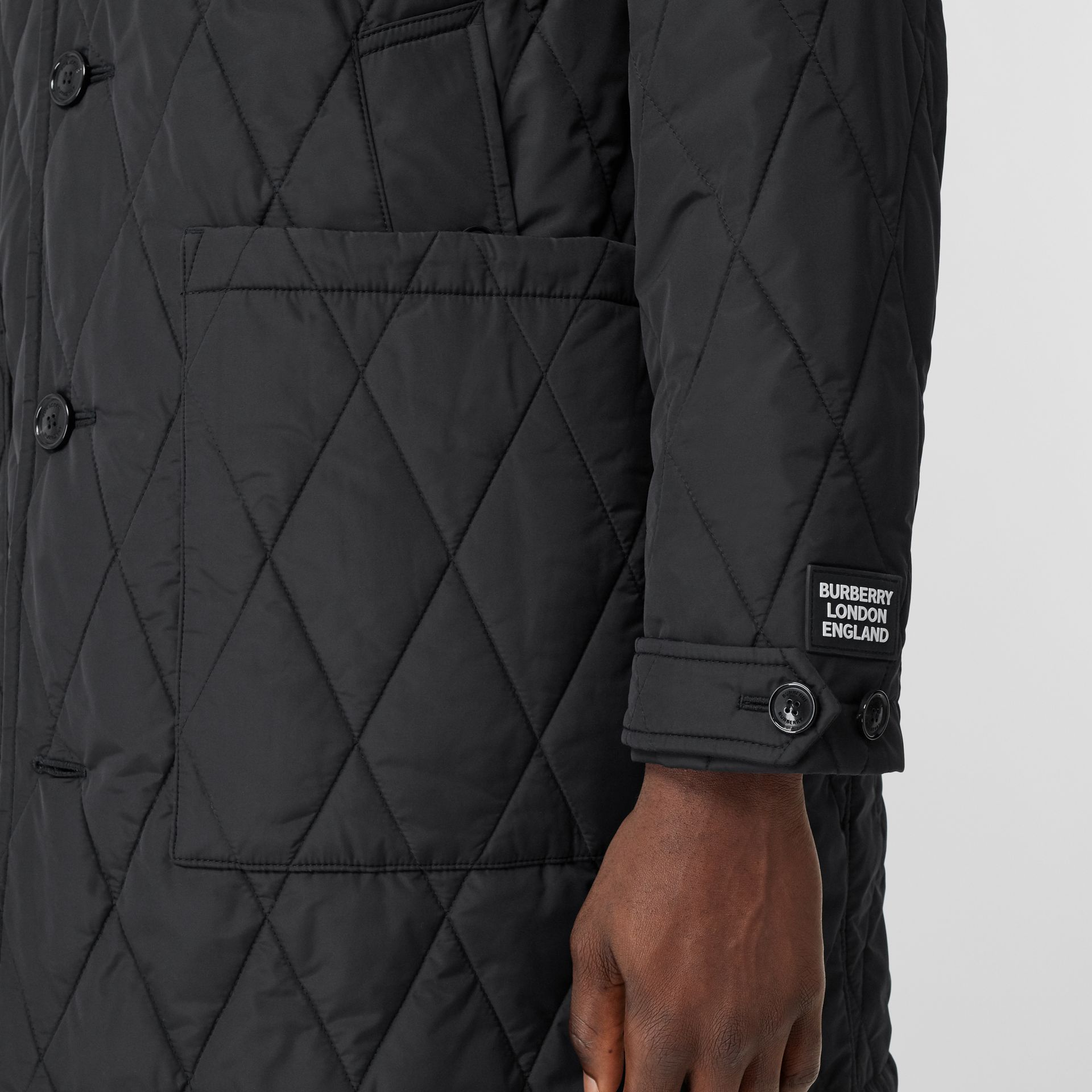 Diamond Quilted Thermoregulated ECONYL® Coat in Black - Men | Burberry United Kingdom - gallery image 4