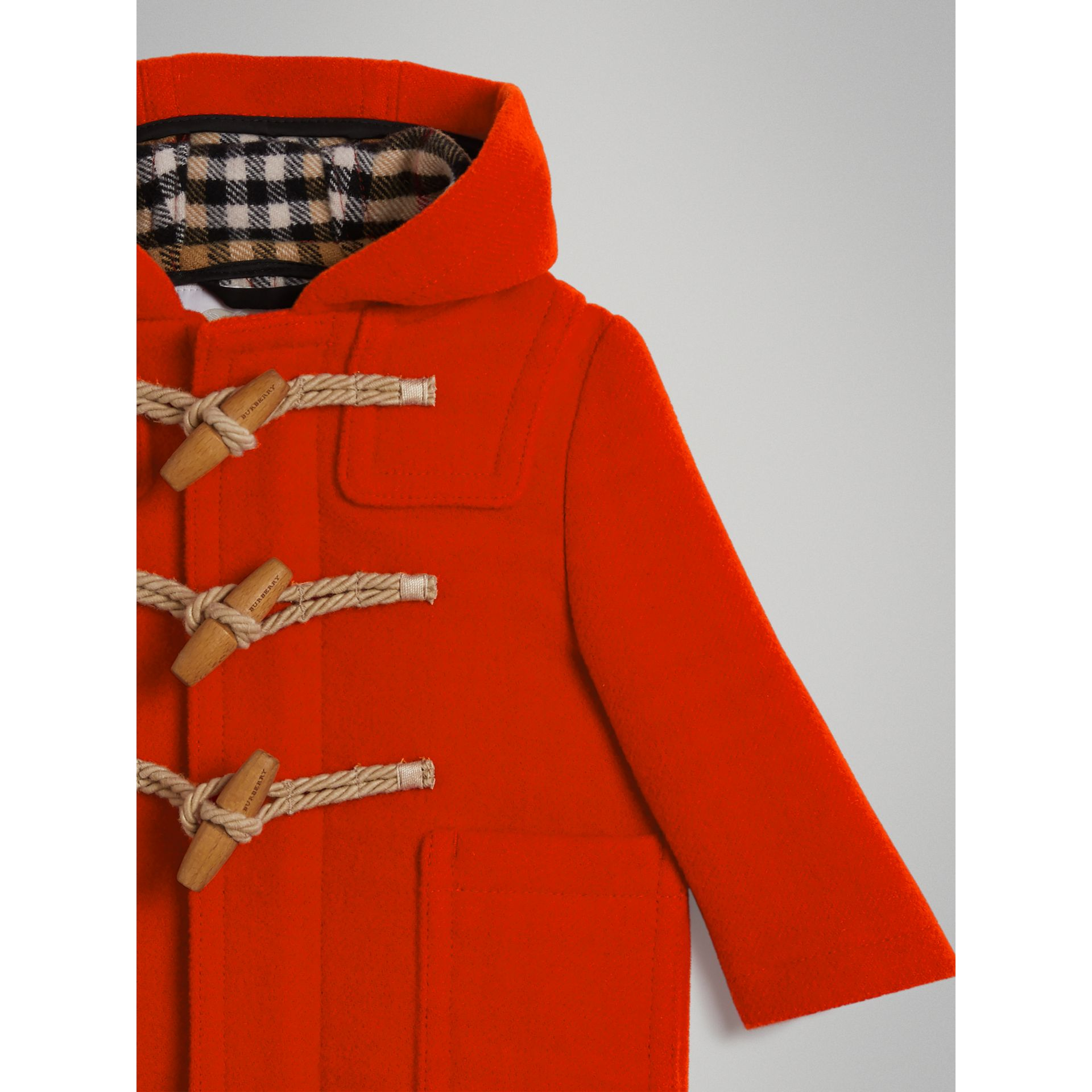 Boiled Wool Duffle Coat in Orange Red - Children | Burberry Australia - gallery image 4