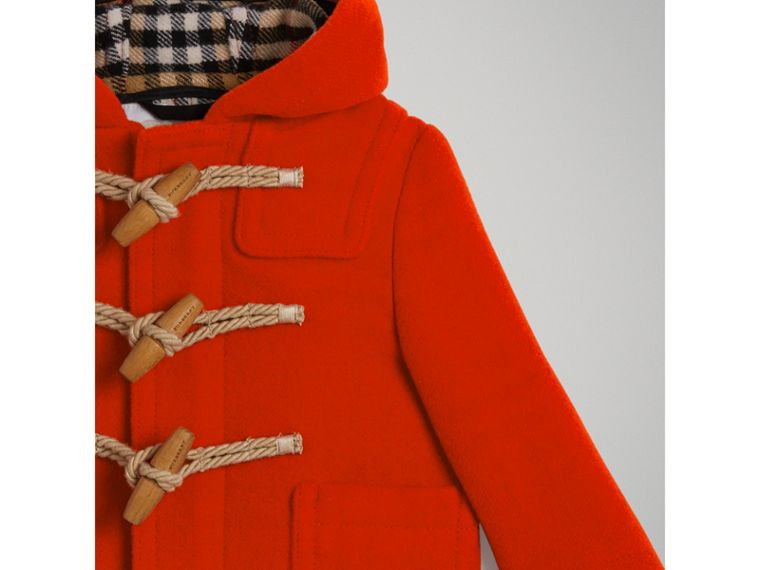 Boiled Wool Duffle Coat in Orange Red | Burberry - cell image 4