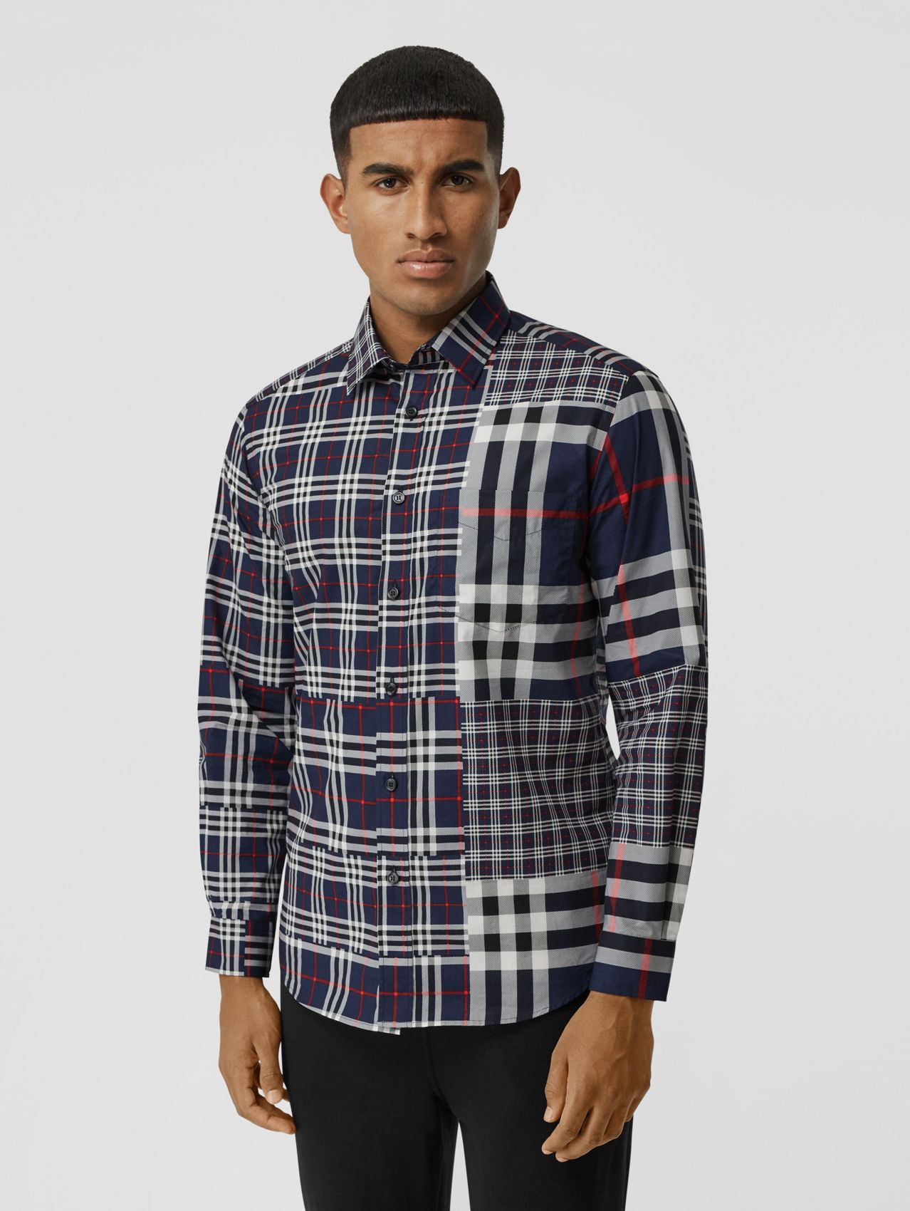 Classic Fit Patchwork Check Cotton Shirt in Navy