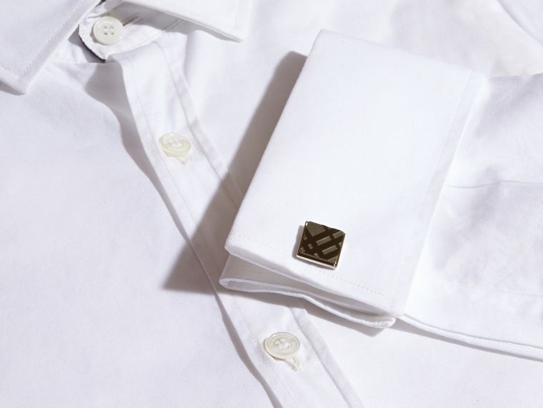 Check-engraved Square Cufflinks in Black - Men | Burberry Hong Kong - cell image 1