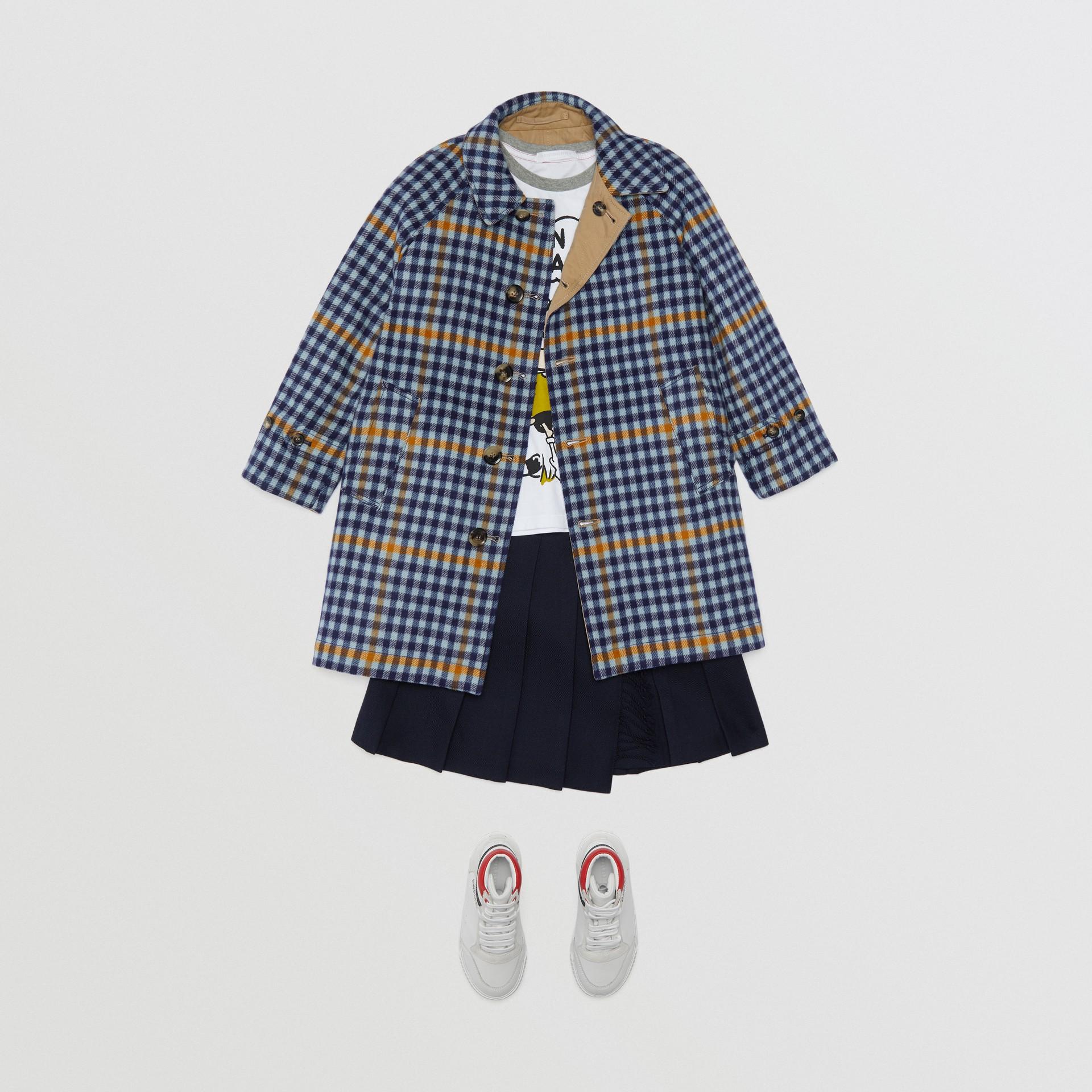 Car coat dupla face de algodão e lã com estampa xadrez (Azul Lona) | Burberry - galeria de imagens 2