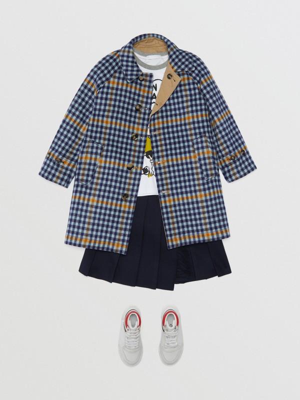 Car coat dupla face de algodão e lã com estampa xadrez (Azul Lona) | Burberry - cell image 2