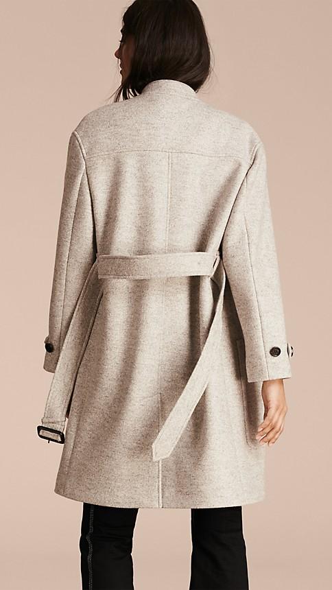 Pale grey melange Wool Belted Wrap Coat - Image 4