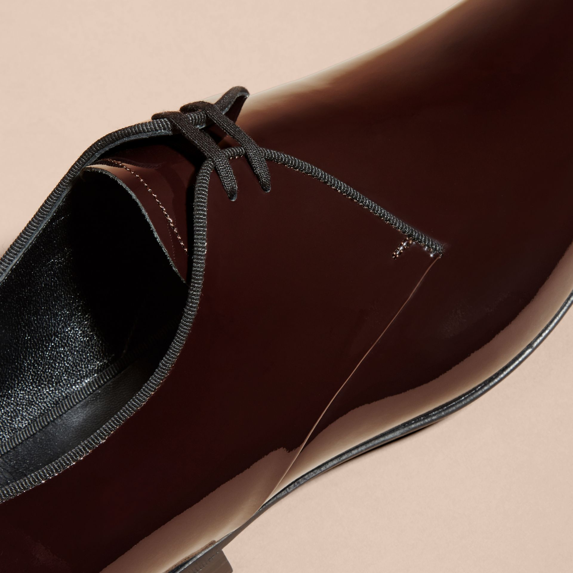 Polished Leather Lace-up Shoes in Dark Claret - gallery image 2