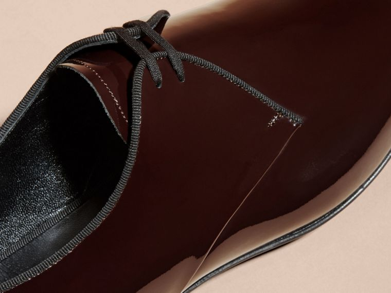 Polished Leather Lace-up Shoes in Dark Claret - cell image 1
