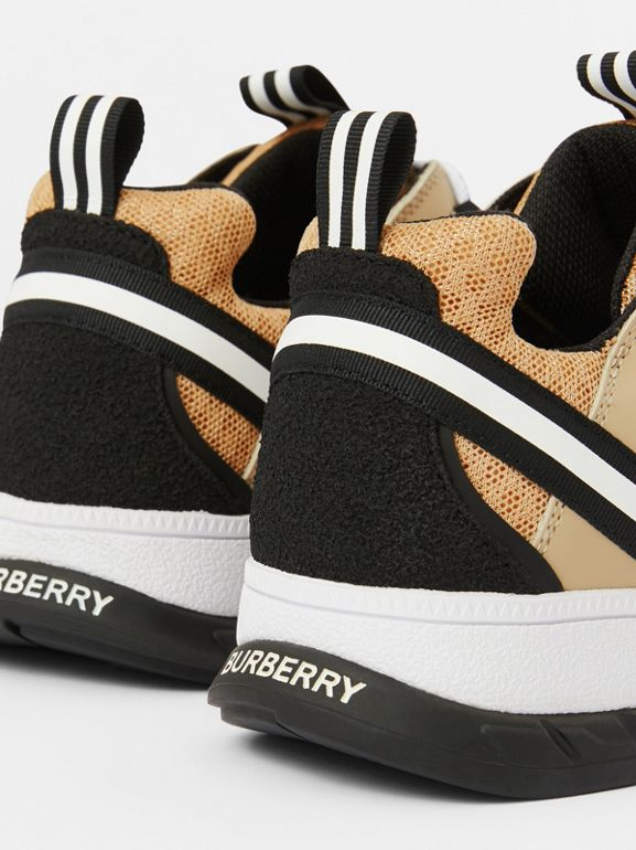 Nubuck and Mesh Union Sneakers in Archive Beige - Children | Burberry - cell image 1
