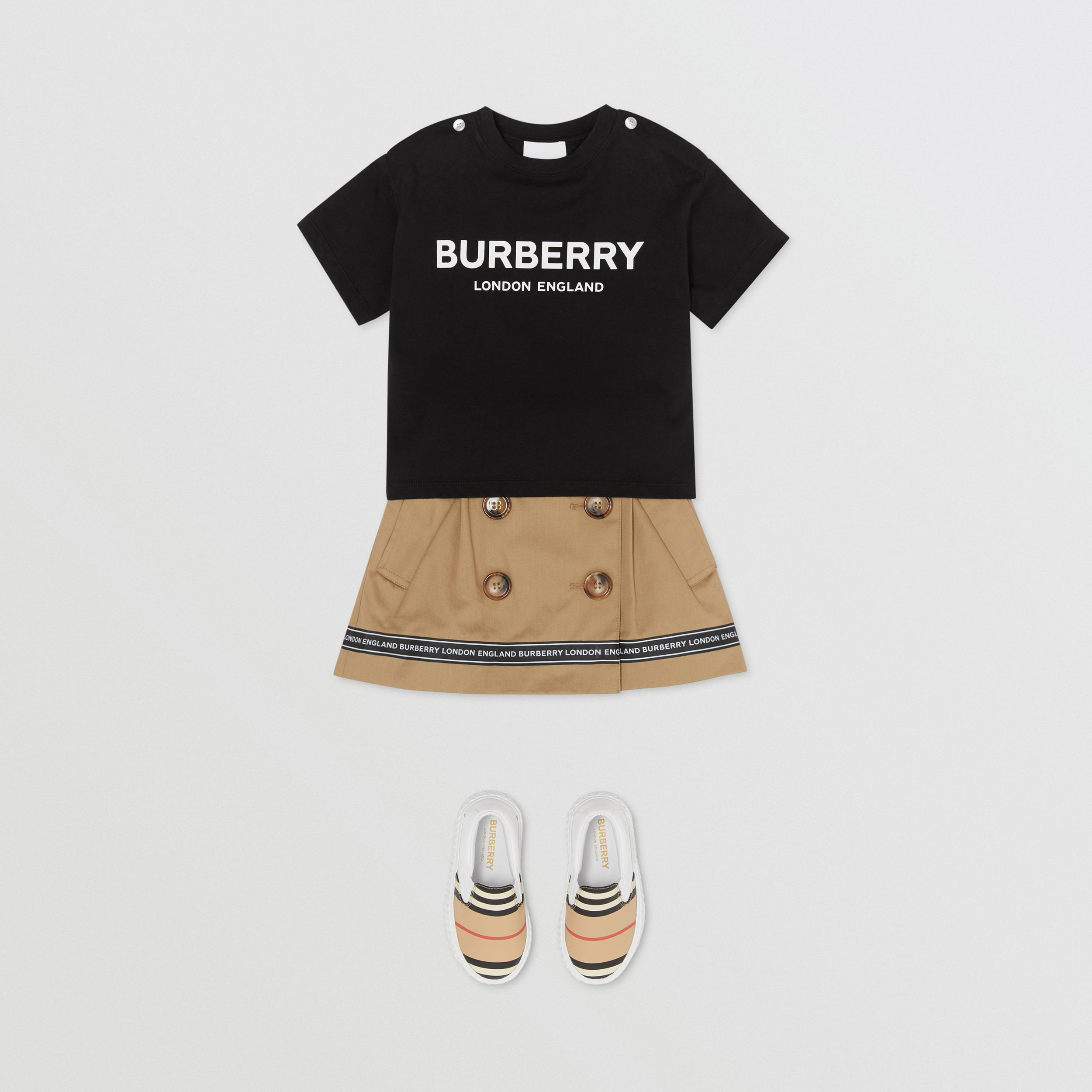 Logo Print Cotton T-shirt in Black - Children | Burberry - 3