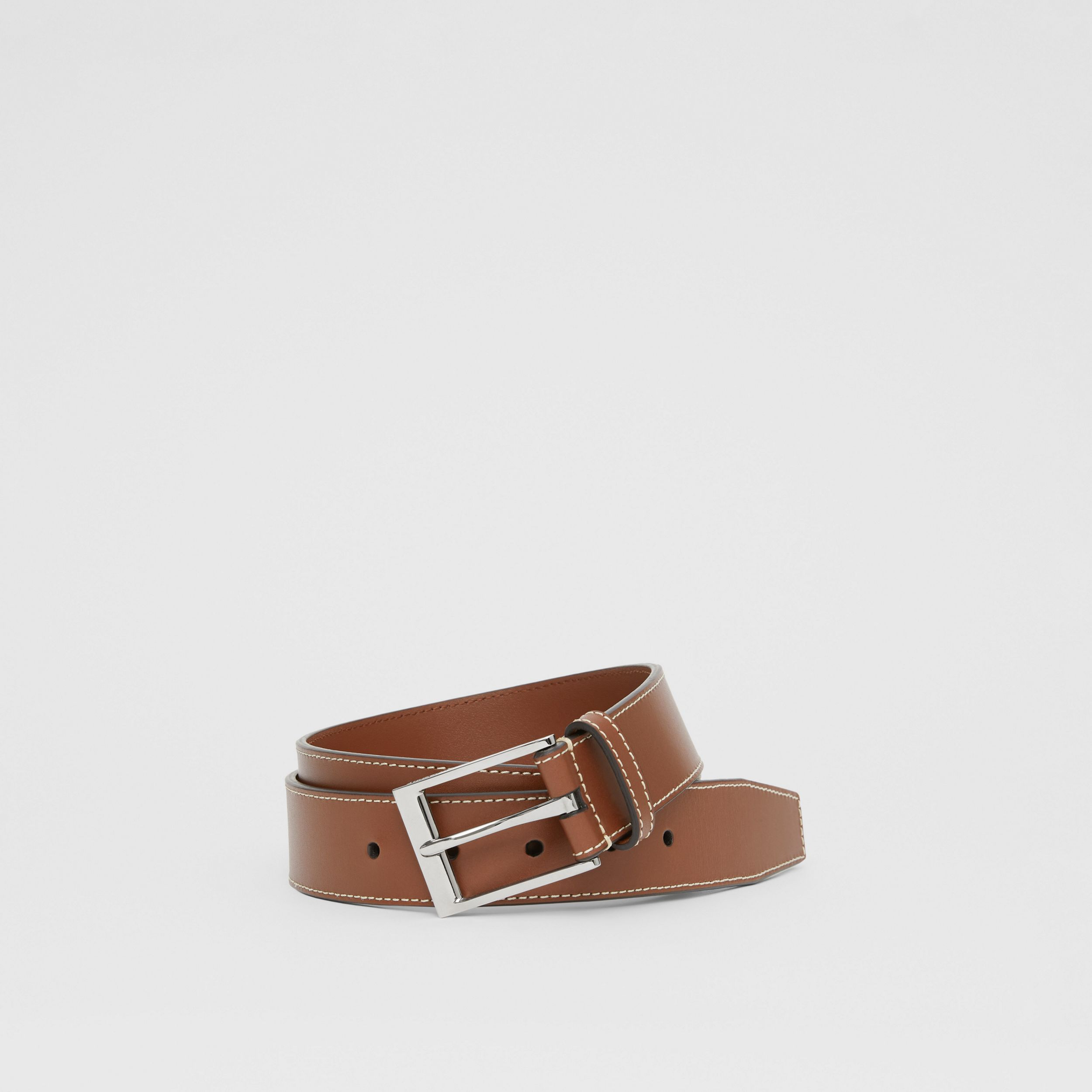 Topstitched Leather Belt in Tan - Men | Burberry - 1