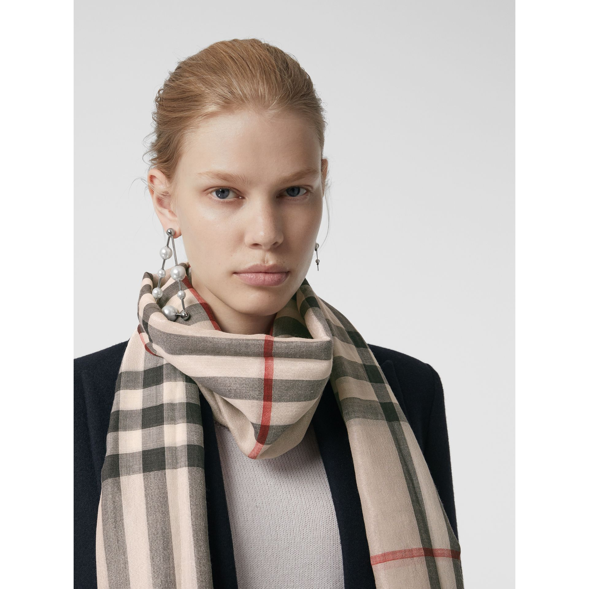 Metallic Check Silk and Wool Scarf in Stone/ Silver | Burberry Singapore - gallery image 5
