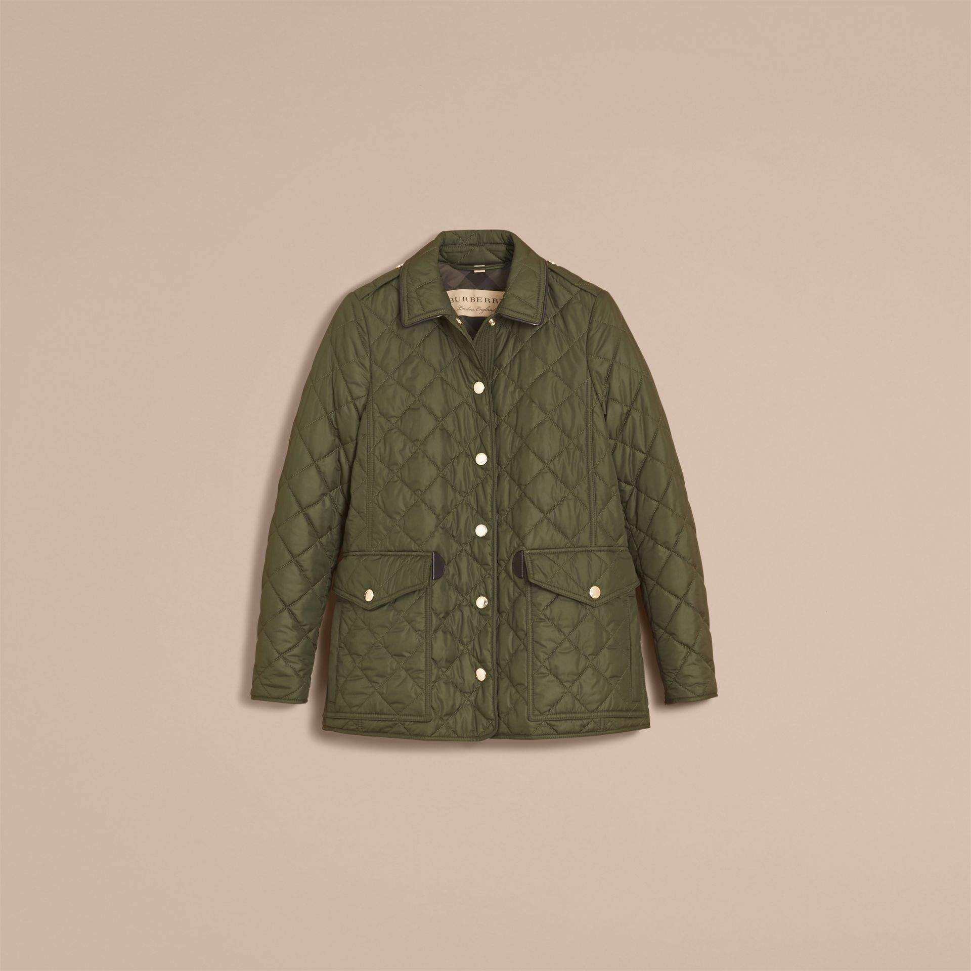 Check Detail Diamond Quilted Jacket Military Green - gallery image 4