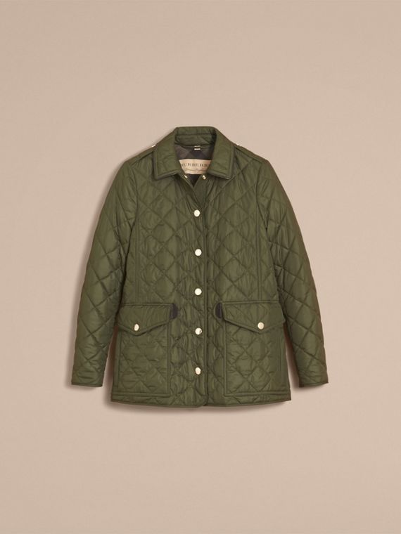 Check Detail Diamond Quilted Jacket Military Green - cell image 3