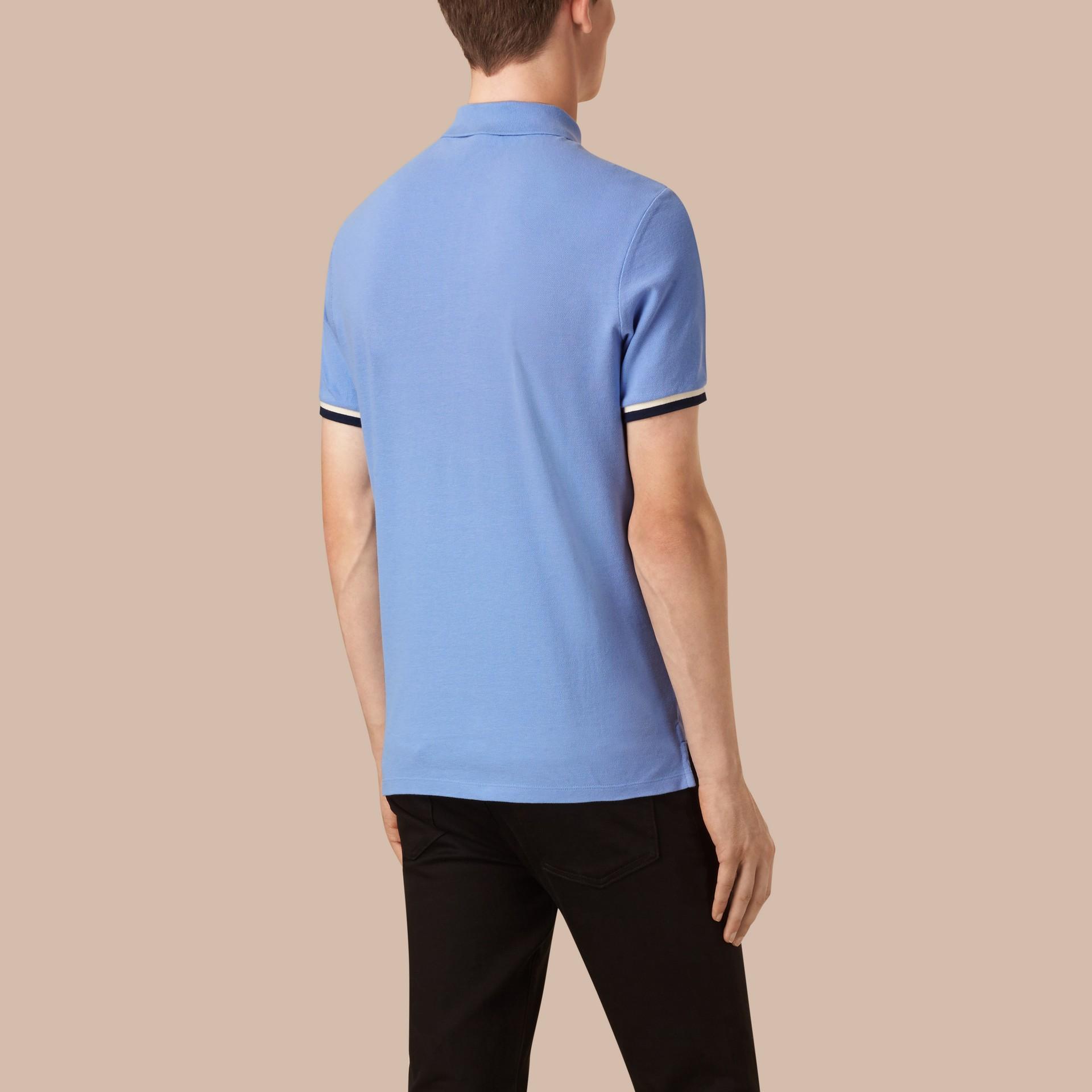 Hydrangea blue Contrast Cuff Cotton Piqué Polo Shirt Hydrangea Blue - gallery image 2