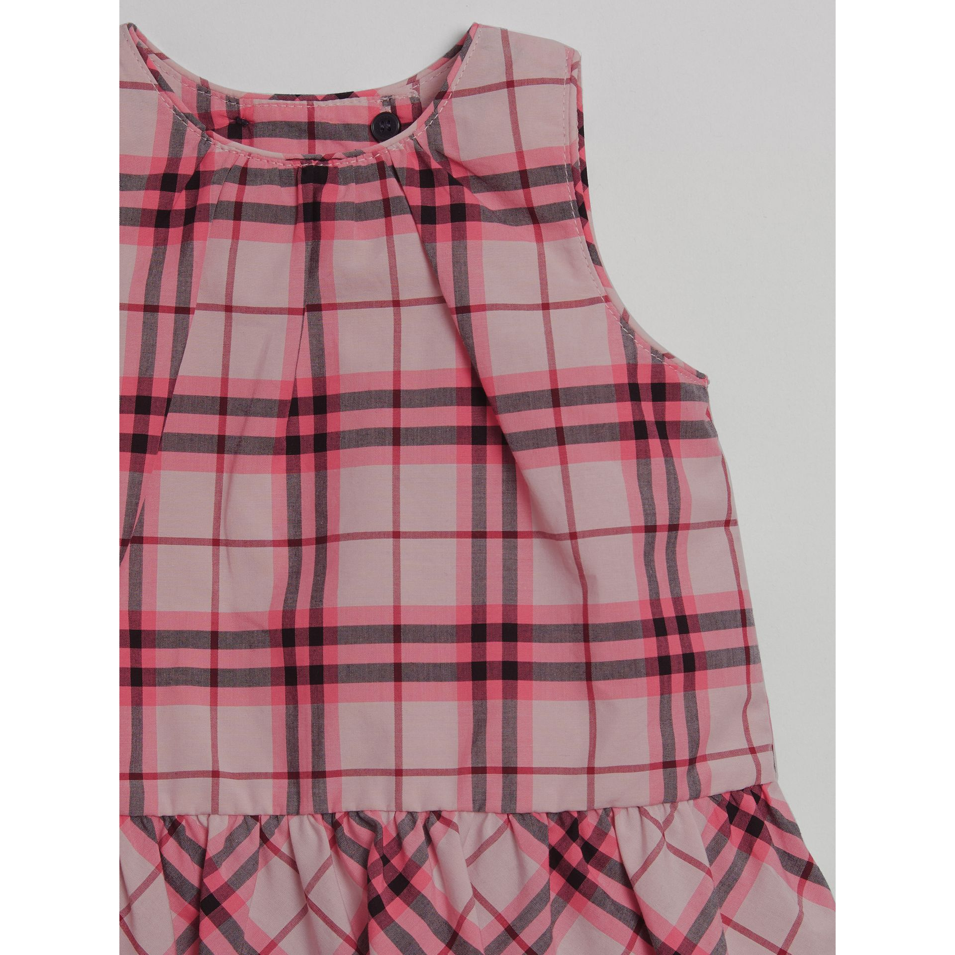 Ruffle Detail Check Cotton Top in Bright Rose | Burberry - gallery image 3