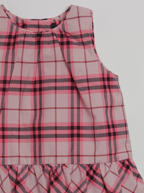 Ruffle Detail Check Cotton Top in Bright Rose - Children | Burberry - cell image 3