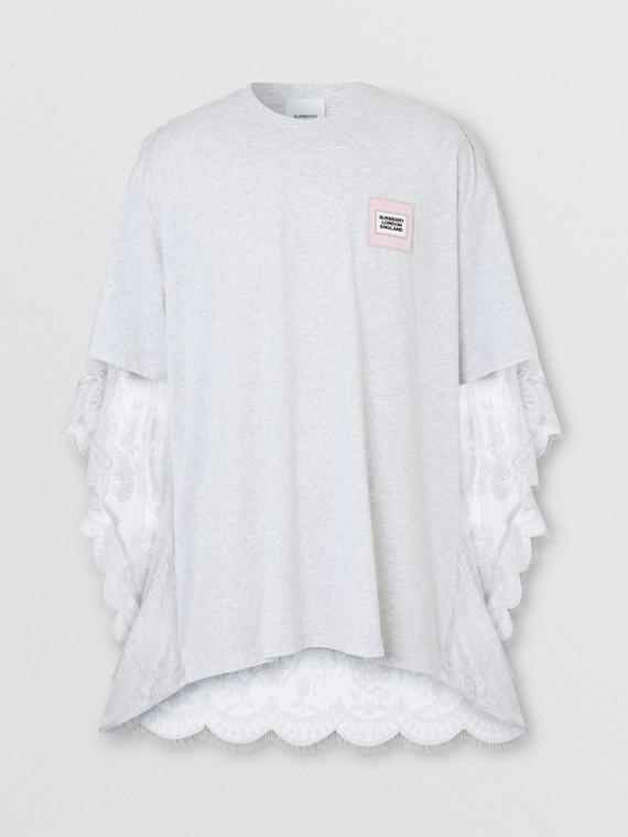 Chantilly Lace Cape Detail Cotton Oversized T-shirt in Porcelain
