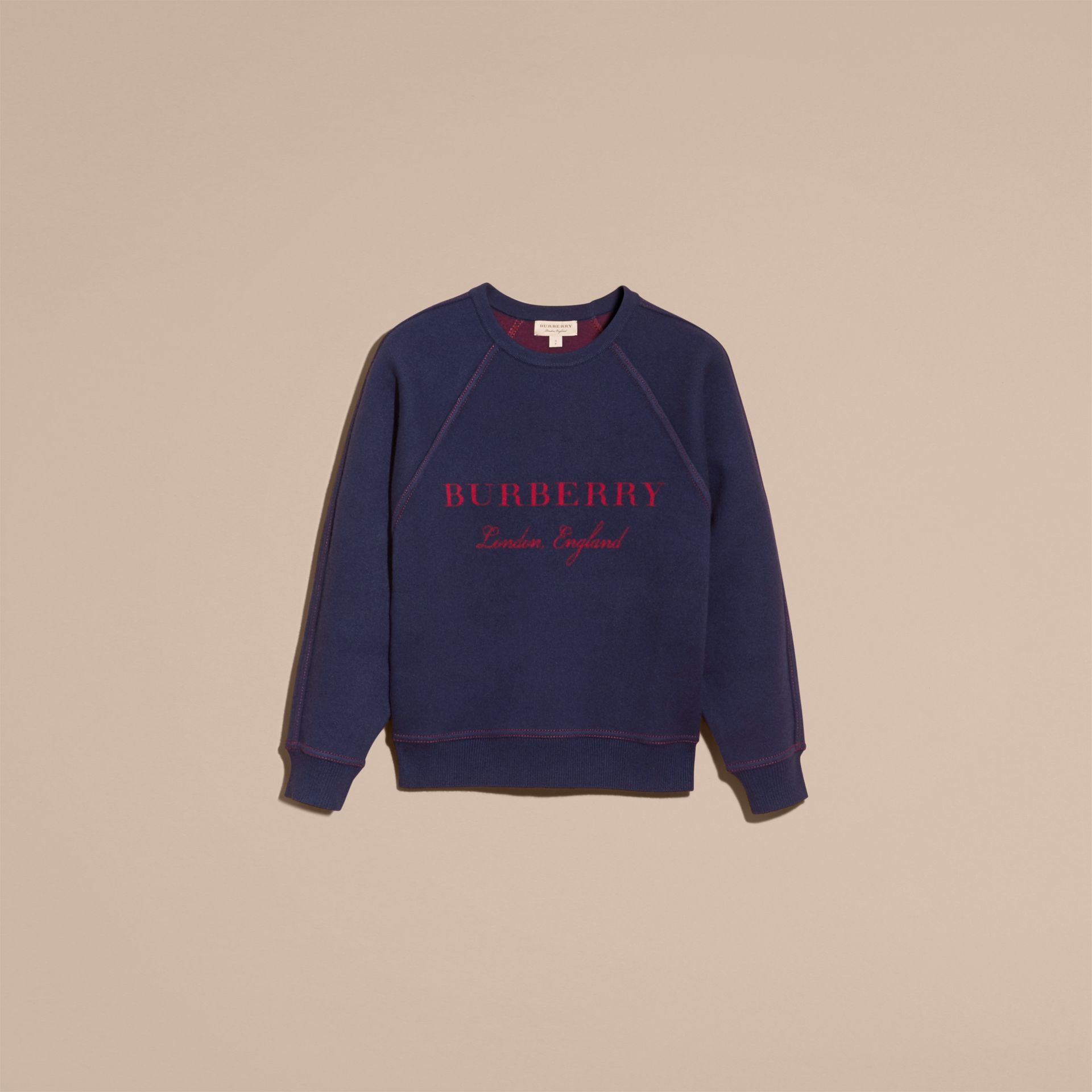 Topstitch Detail Wool Cashmere Blend Sweater in Navy - Women | Burberry - gallery image 4