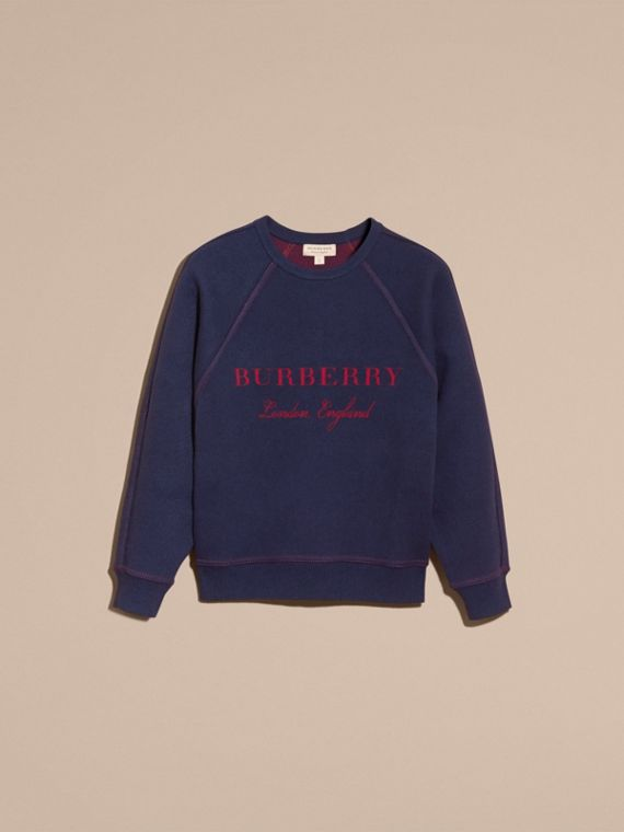 Topstitch Detail Wool Cashmere Blend Sweater in Navy - Women | Burberry Hong Kong - cell image 3