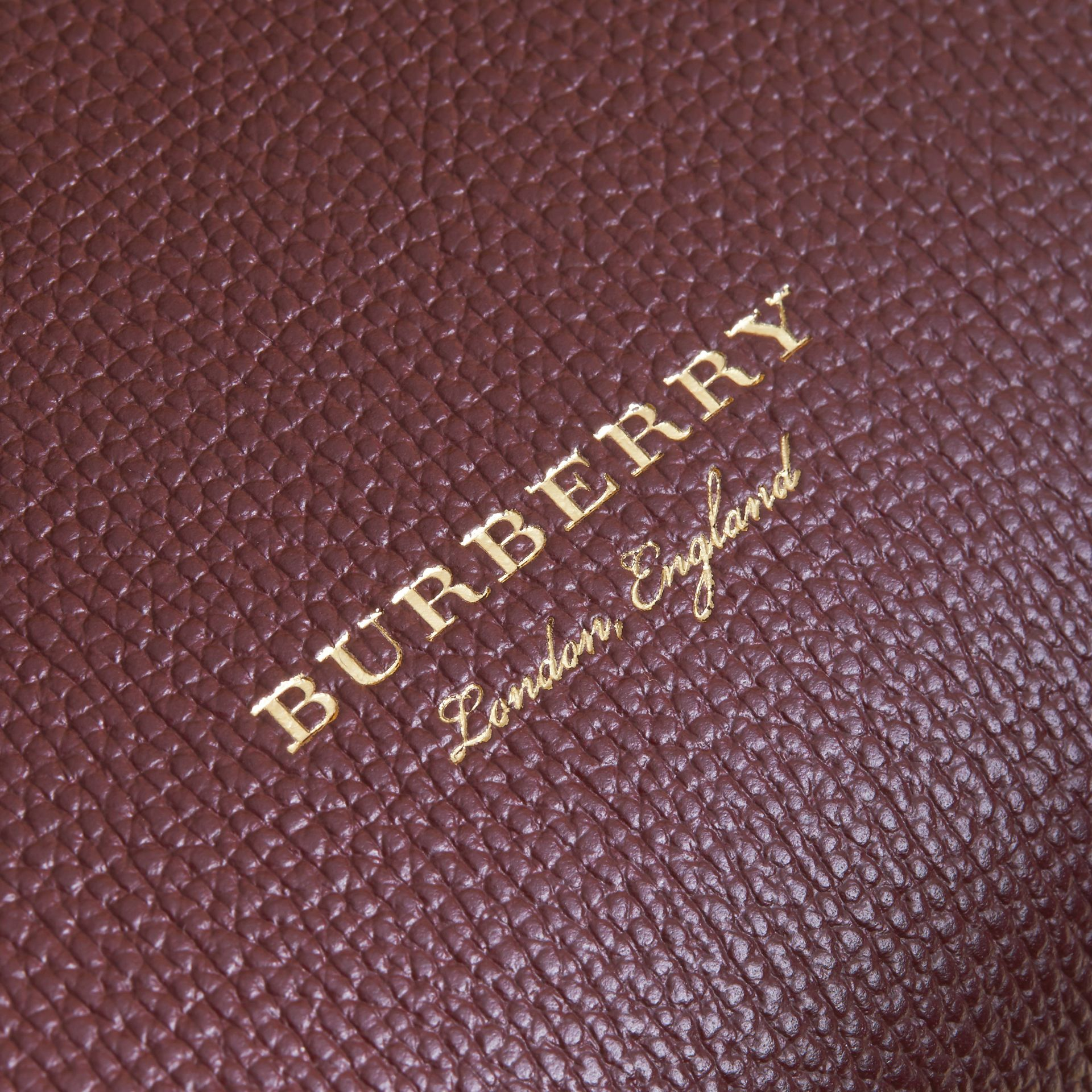 Medium Grainy Leather and House Check Tote Bag in Mahogany Red - Women | Burberry Singapore - gallery image 1