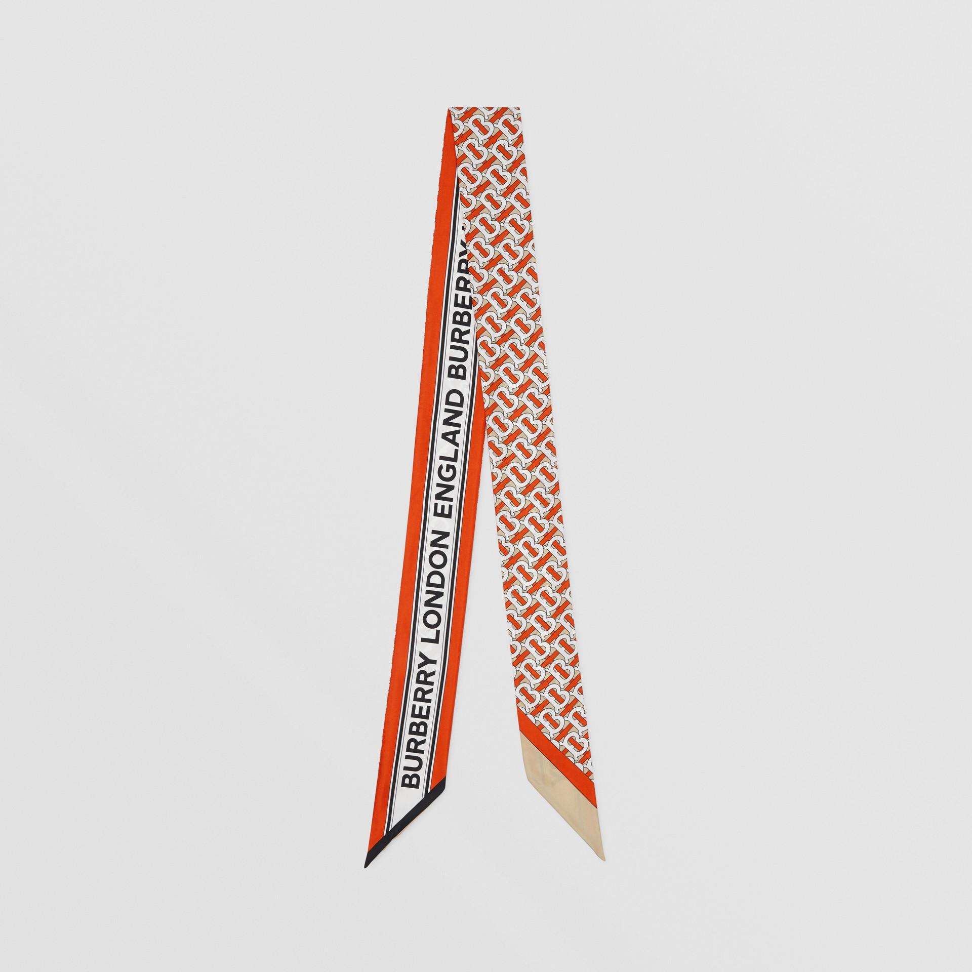Monogram and Logo Print Silk Skinny Scarf in Vermilion | Burberry United Kingdom - gallery image 0