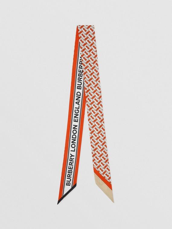 Schmaler Seidenschal mit Monogrammmuster und Burberry-Logo (Zinnoberrot)