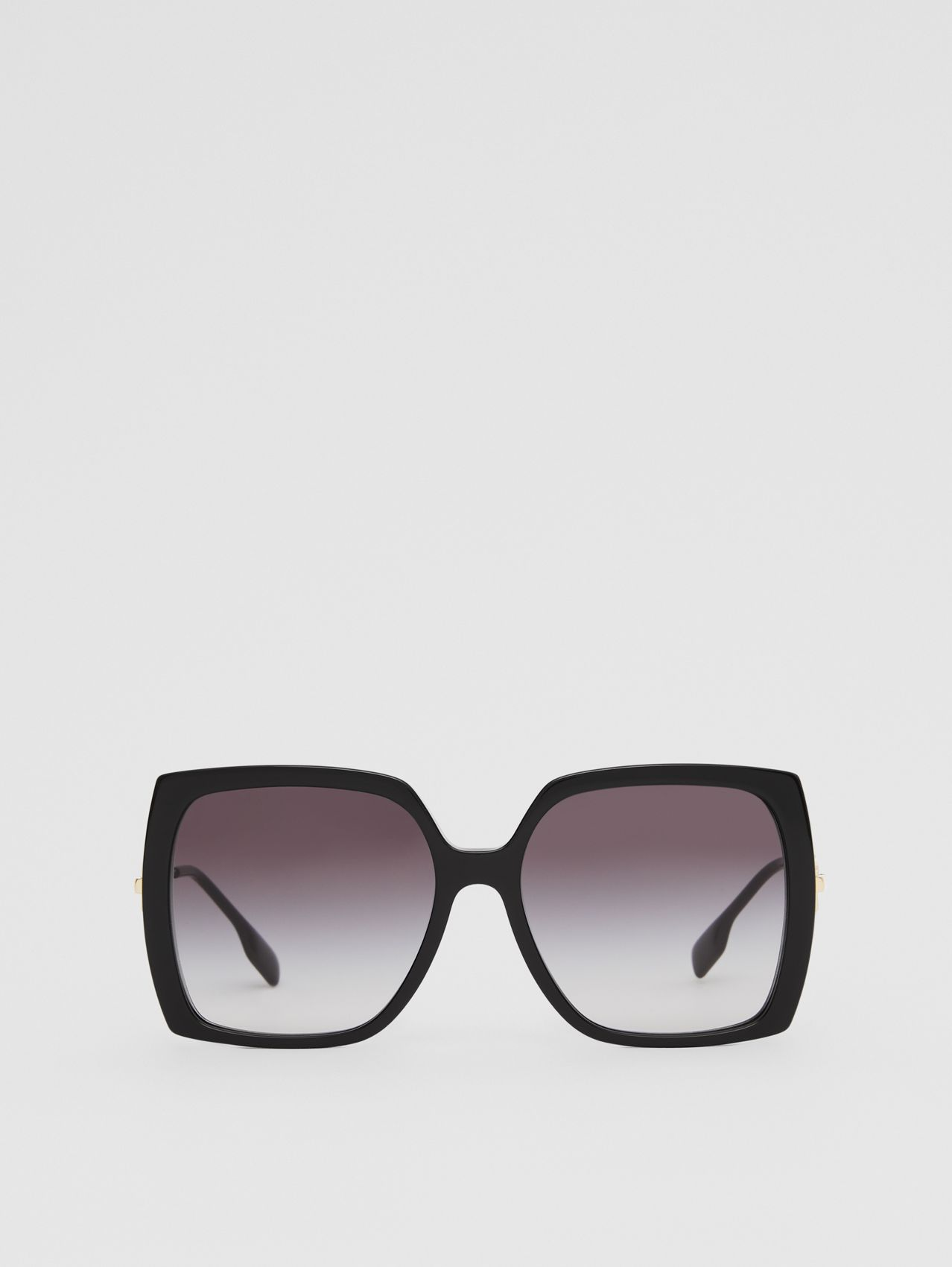 Chain-link Detail Oversized Square Frame Sunglasses in Black