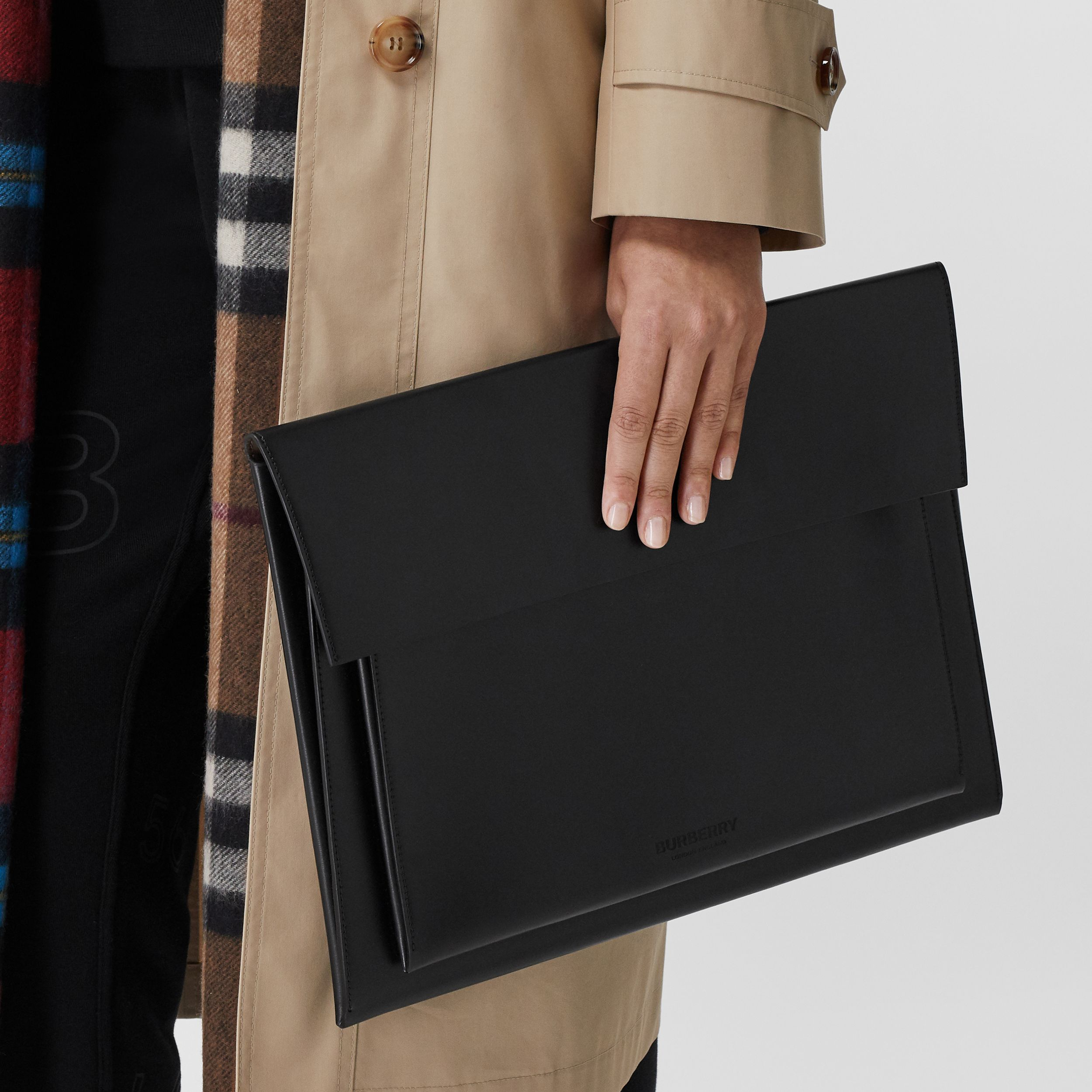 Leather Laptop Envelope Pouch in Black - Men | Burberry - 3