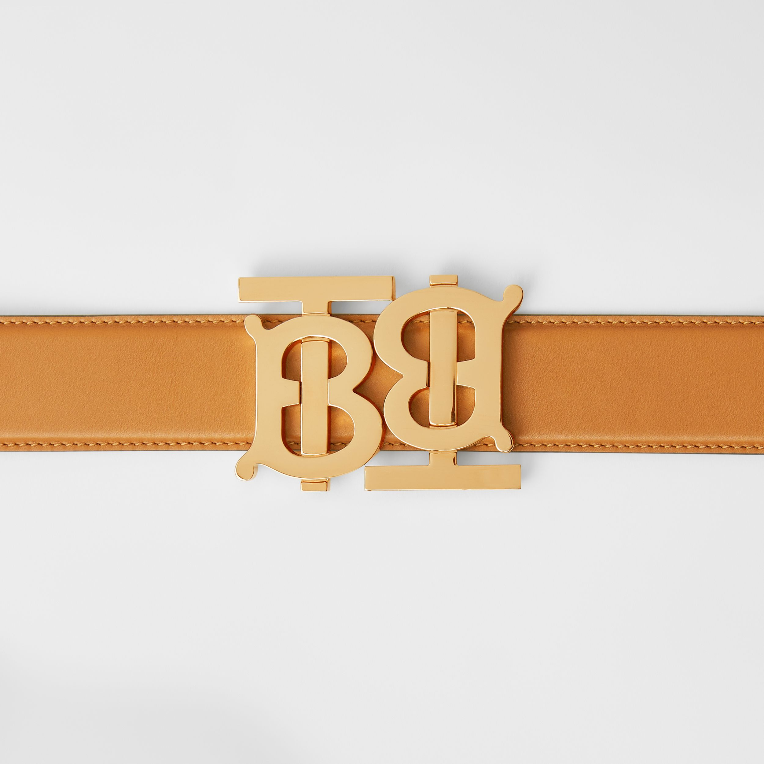 Double Monogram Motif Leather Belt in Warm Tan - Women | Burberry - 2